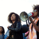 Activist and artist Jayanthi Kyle sings to the crowd